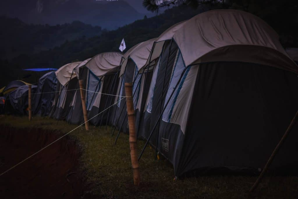A tent in a dark room